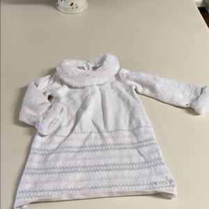Janie jack sweater dress 12-18m faux fur collar